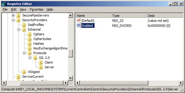 IIS7.0禁用SSL 2.0和SSL 3.0协议